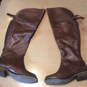 Leather wide calf riding boots—NEVER WORN!